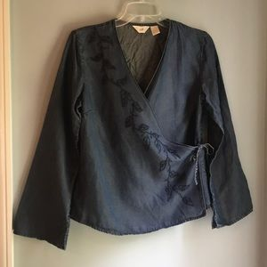 J. Jill indigo tencel wrapped top size S